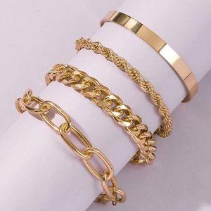Link Bracelets Gold Layered New